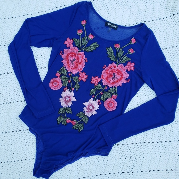 Top Chic Tops - Distressed Blue mesh embroidered bodysuit